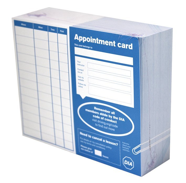 driving instructors associationdia appointment cards 500