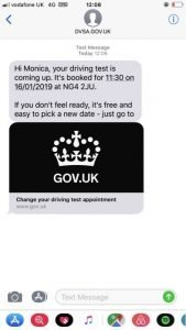 Example of the text messages learner drivers are being sent in the trial