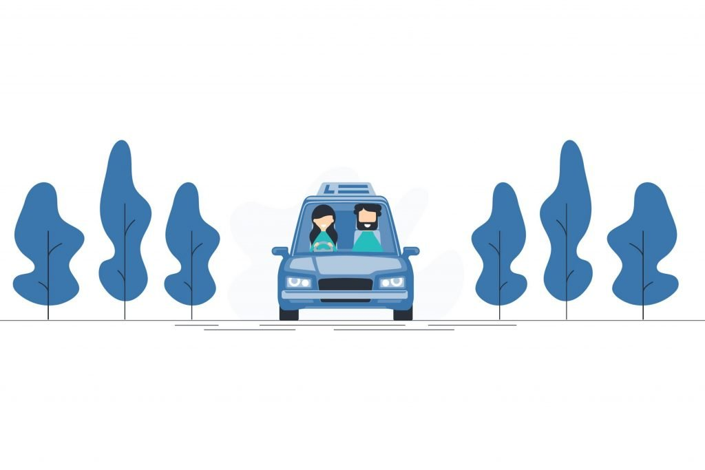 Add strings to your bow. An illustration of a training car driving on a country road